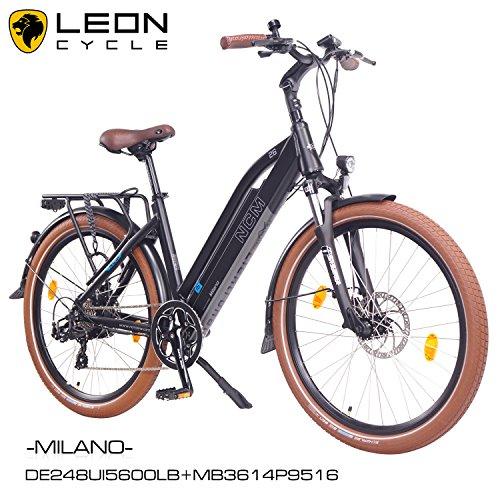 NCM Milano 26 Zoll Elektrofahrrad Herren/Damen Unisex Pedelec,E-Bike,Trekking Rad, 36V 250W 14Ah Lithium-Ionen-Akku mit PANASONIC Zellen, matt schwarz