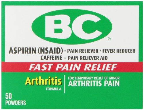 Bc Aspirin Fast Pain Relief Powder   Arthritis Formula   Temporarly Relieves Minor Arthritis Pain   Contains Caffeine   50 Powders
