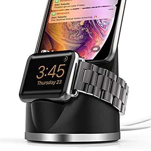 - 51mKk1UP 2L - OLEBR Charging Stand for iWatch 4, Airpod iPhone X/8/8Plus/7/7Plus/6s/6s Plus Dock, 2 in 1 Charging Dock for iWatch 4, Charging Station for iWatch Series 4/3/2/1/,iPhone-Black