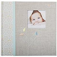C.R. Álbum de fotos del bebé de lino gris de Gibson Libro de fotos para bebés, 9.3 x 9.1 x 1.8 pulgadas, 80 páginas