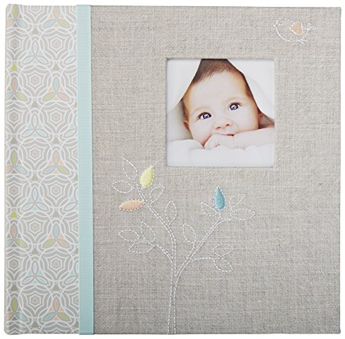 C.R. Gibson's Gray Linen Baby Photo Album Baby Photobook, 9.3 x 9.1 x 1.8 inches, 80 pages (Album Baby Pretty)