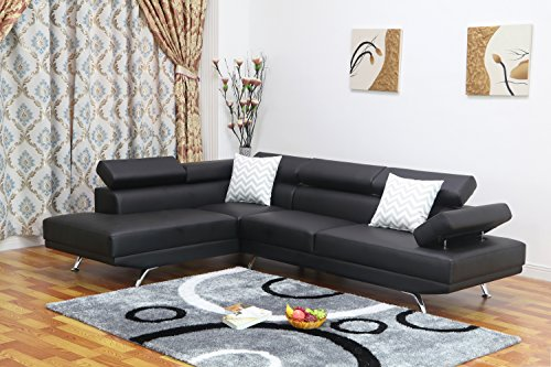 U.S. Livings Liberty Modern Living Room 2-Piece Sectional Sofa (Left, Black) 2 Piece Sectional Chaise
