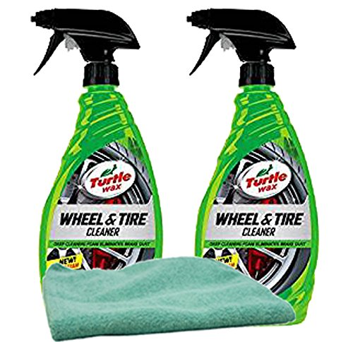 (Turtle Wax Heavy Duty All Wheel & Tire Cleaner (23 oz) Bundle with Microfiber Cloth (3 Items))