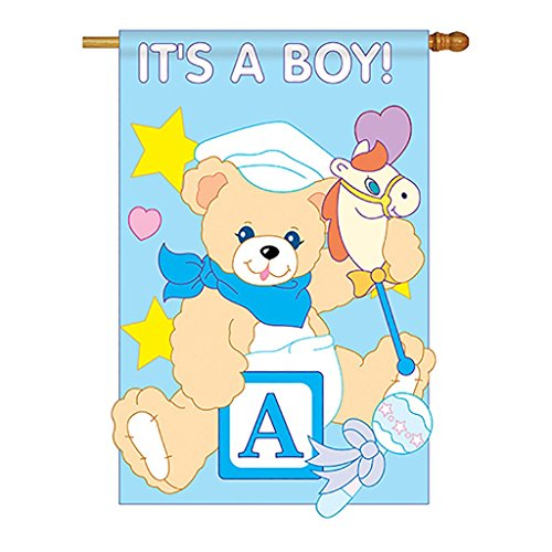 Two Group – It's a Boy Special Occasion – Everyday Family Applique Decorative Vertical House Flag 28″ x 44″ For Sale