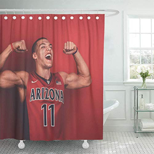 Ladble Rugby Decor Shower Curtain Set with Hooks Aaron Basketball Player Arizona Gordon Portrait Orlando City Magic 72 X 72 Inches Polyester Waterproof Bathroom