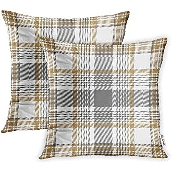 Emvency Set of 2 Throw Pillow Covers Print Polyester Zippered Beige Pattern Gold Platinum Checkered Plaid Gray Check Pillowcase 18x18 Square Decor for Home Bed Couch Sofa