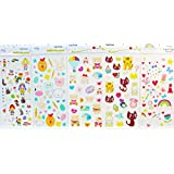 Latest new design and hot selling realistic tattoo stickers 5pcs children cartoon in one package, it's including love bears,cats,rabbits,rainbows,flowers,stars,heart,etc. temporary tattoos