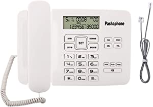 Corded Phone Desk Landline Telephone Backlit Display Caller ID & Call Waiting Function Home Office (White)