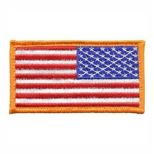Military USA American Reversed Hook Flag Patch with Gold Bor