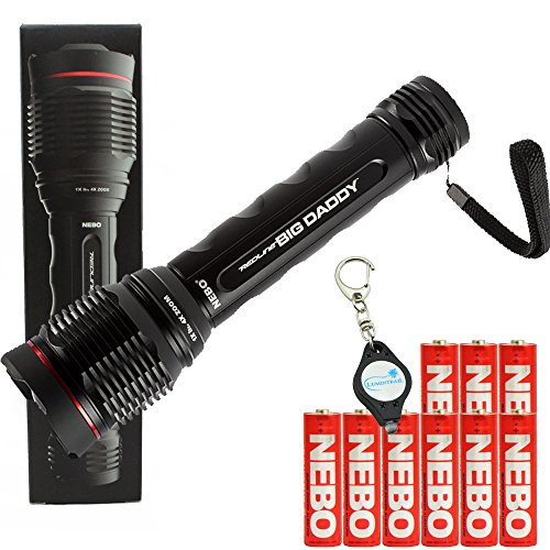 NEBO Redline Big Daddy 2000 Lumen Flashlight Includes 9 AA Batteries and Lumintrail Keychain Light