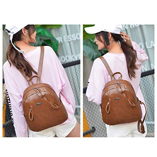 Washed Artwell Shoulder Rucksack Ladies Backpack Front Leather Brown PU Casual with Zipper Bag Purse Women 2 Pocket grrIRq