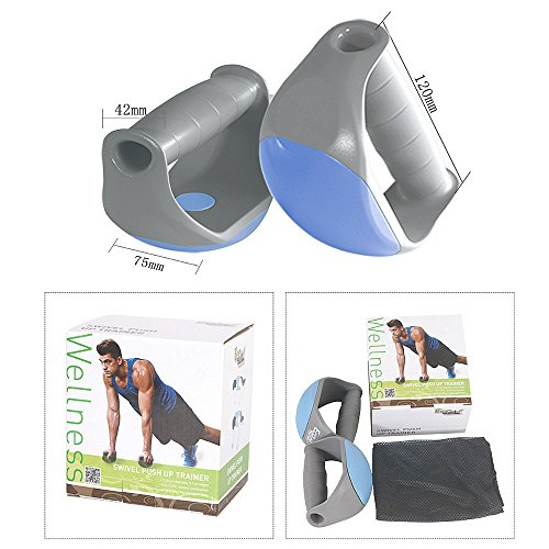 VANCIC Rotating Push Up Stands Grips Gray Blue Swivel Push Up Trainer Non Slip Bar Design Rotation and Stationary (Two in One) Perfect for Men & Women, Fitness Workouts, P90X and CrossFit