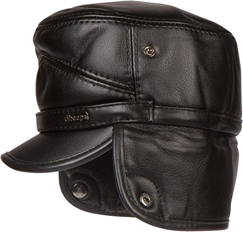 Sakkas 1775 - Eliott Warm Flat Cap Military Hat Faux Fur Lined Convertible - Black - XXL