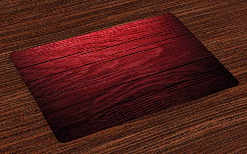 Lunarable Maroon Place Mats Set of 4, Wooden Planks Timber Board Ancient Tree Theme Image Rustic Country Life Theme, Washable Fabric Placemats for Dining Room Kitchen Table Decoration, Maroon Black (Dining Timber Table)