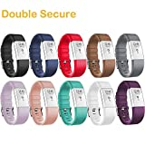 HWHMH Adjustable Replacement Sport Strap Band for Fitbit Charge 2 Fitness Watch, Classic, 12 Colors (01-10PCS Bands, Wrist 5.5''- 8.1'')