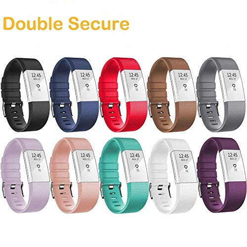 HWHMH Adjustable Replacement Sport Strap Band for Fitbit Charge 2 Fitness Watch, Classic, 12 Colors (01-10PCS Bands, Wrist 5.5''- 8.1'') by HWHMH