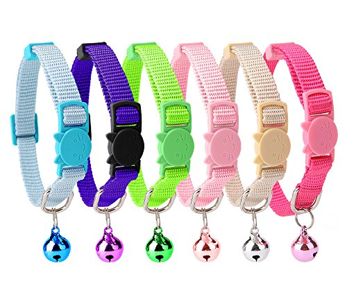 HOMIMP 6PCS Breakaway Cat Collar Safety with Bell for Kitty