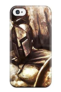 AnnaSanders CFFxSxV626uHuSt Case For Iphone 4/4s With Nice Spartan Movie Spear Shield Helm 300 Historical People Movie Appearance