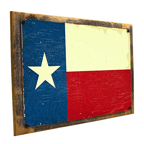 (Framed Texas Flag Metal Sign Mounted on Rustic, Weathered Wood)