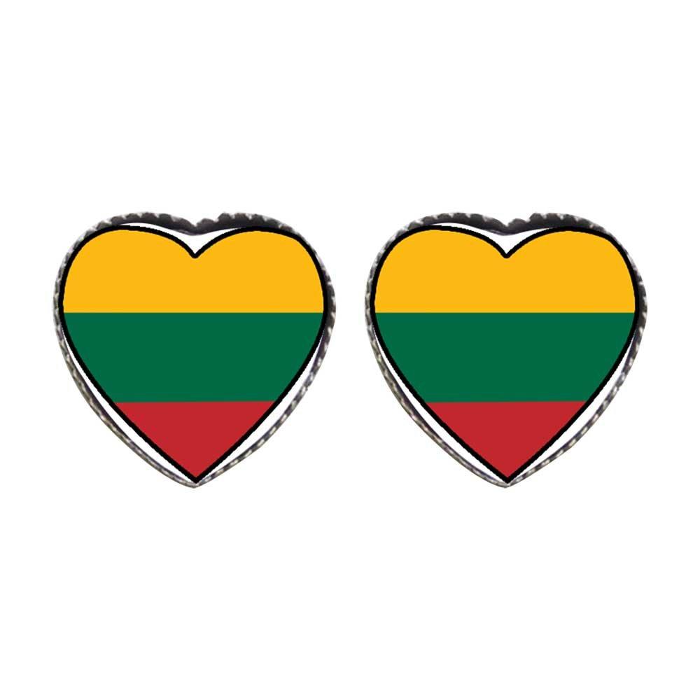 GiftJewelryShop Bronze Retro Style Lithuania flag Photo Stud Heart Earrings #12