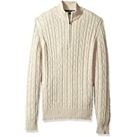 IZOD - Suéter con cremallera 1/4 de cable sólido para hombres