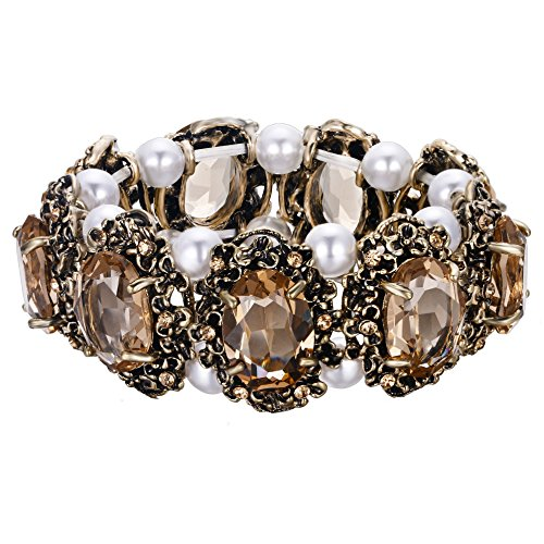 BriLove Victorian Style Stretch Bracelet for Women Crystal Simulated Pearl Multi Floral Cameo Inspired Oval Bracelet Champagne Antique-Gold-Toned