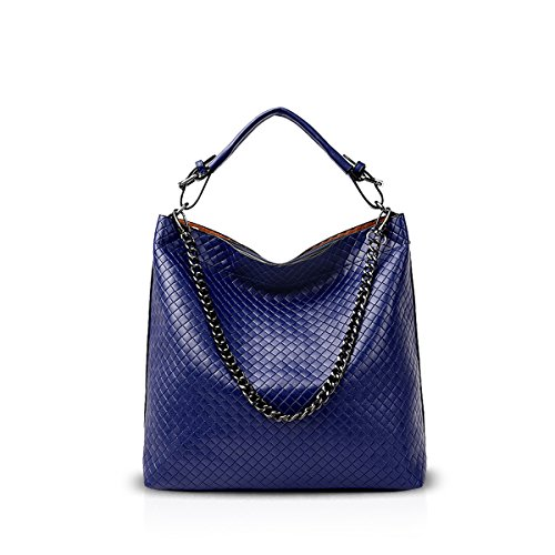 Lady Leather PU Nicole Gold Women Lattice Handbags Bag Bag Shoulder amp;Doris Blue Satchel Crossbody Chain New Diamond for qxZw6Opq