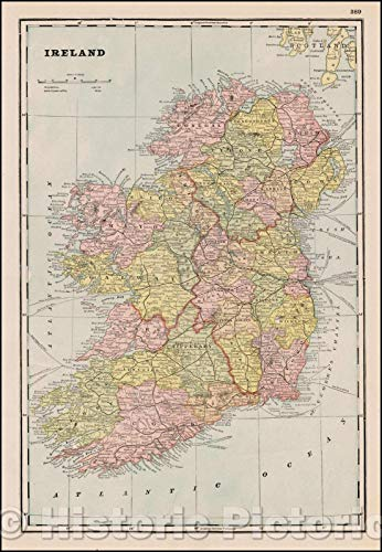 Historic Map | Ireland, 1892, George F. Cram | Vintage Wall Art 16in x 24in Cram 1892 Antique Map