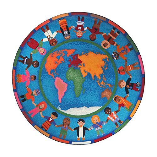 Joy Carpets Kid Essentials Early Childhood Round Hands Around The World Rug, Multicolored, 7'7'' by Joy Carpets