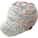 86aef873d9fc3 AOXIANG Women Baggy Warm Crochet Winter Wool Knit Ski Beanie Skull Slouchy  Caps Horsetail Hat CC