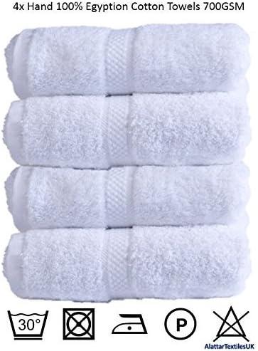 Juego de 4 toallas de mano de algodón egipcio 700gsm Extra suave o cama de matrimonio Miami de toallas de baño de alta calidad, blanco: Amazon.es: Hogar