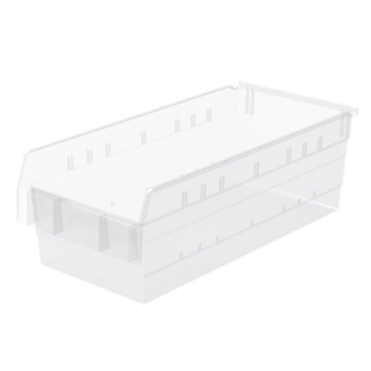 Akro-Mils 30804 ShelfMax 8 Plastic Nesting Shelf Bin Box, 24-Inch x 11-Inch x 8-Inch, Clear, 4-Pack