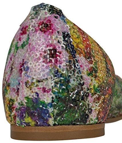 Ballerine en cuir DINA vin Shirin Sehan paillettes multicolore Finition Paillettes, fabriqué en Italie