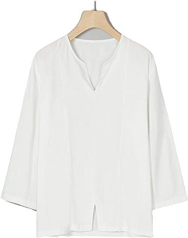 Camisa de lino lisa, para hombre, holgada, camisas hawaianas ...