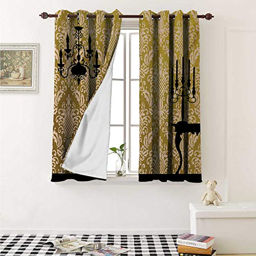 Iron Chandelier Chateau - shenglv Damask Customized Curtains English Country House Damask Motif on Wall and Chandelier Silhouettes Renaissance Curtains for Kitchen Windows W63 x L45 Inch Yellow Black
