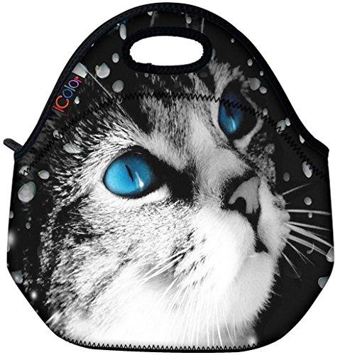 Blue Eye Cat Thermal Neoprene Waterproof Kids Insulated Lunch Portable Carry Tote Picnic Storage Bag Lunch box Food Bag Gourmet Handbag Cooler warm