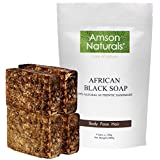 AFRICAN BLACK SOAP (1.32 lb / 4 bars x 150 grams) - by Amson Naturals -100% Natural Pure Authentic Traditionally Handmade in Africa (Ghana) - for Body Face Hair.