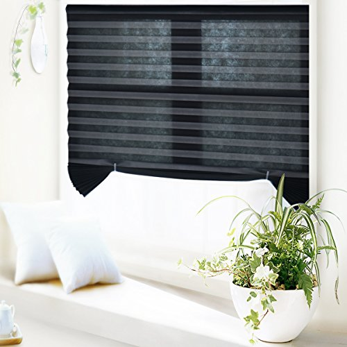 6 Pack Blackout Window Pleated Shade Darkening Cordless Quick Fix Pleated Fabric Window Shade for Home Office Vacation 48″x72″