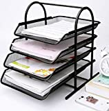 Caveen 4 Tiers Letter Trays Desk Organizer Black Mesh Paper Storage Document Organizer