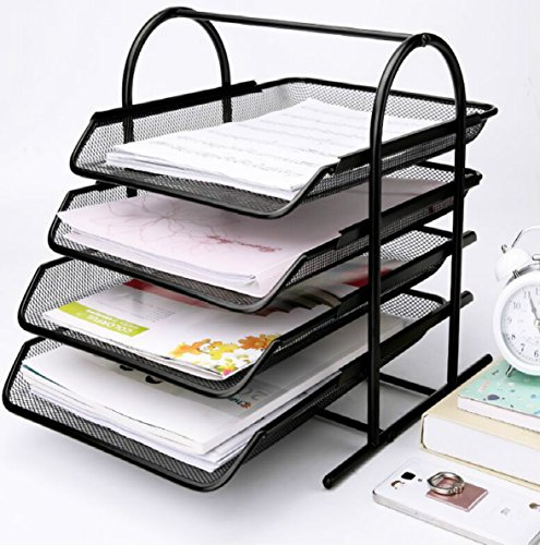 Caveen 4 Tiers Letter Trays Desk Organizer Black Mesh Paper Storage Document Organizer by Caveen
