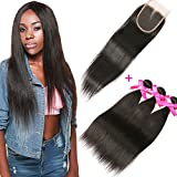 DSOAR Brazilian Straight Hair 3 Bundles With a Free Part Lace Closure 100% Unprocessed Virgin Human Hair Weave Bundles Natural Color(16''18''20''with 14'')