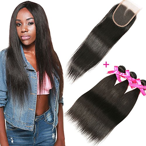 DSOAR Brazilian Straight Hair 3 Bundles With a Free Part Lace Closure 100% Unprocessed Virgin Human Hair Weave Bundles Natural Color(16''18''20''with 14'') by DSOAR