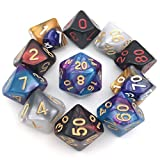 Assorted Polyhedral Dice Set with Black