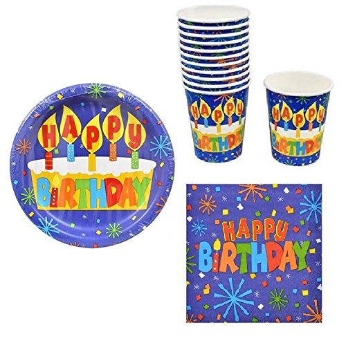 Happy Birthday Paper Plates, Lunch Napkins and Matching Cups (Blue Streamers Design)