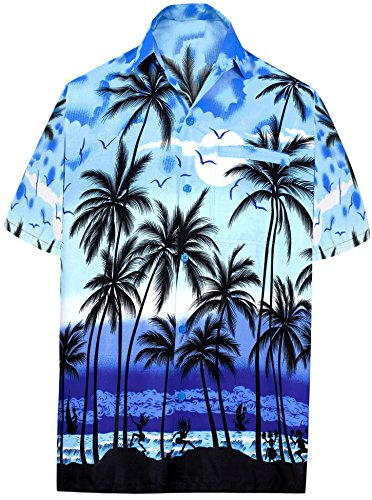 "LEELA Likre Vacation Camp Party Shirt Blue 328 XL | Chest 48"" - 52"""