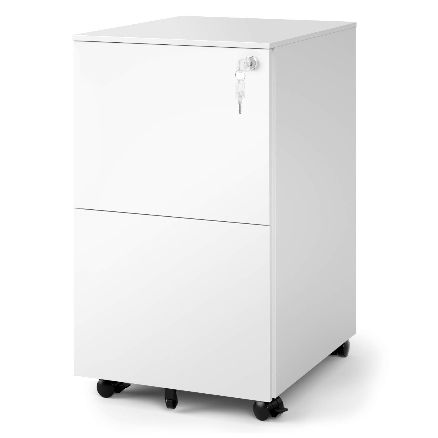 DEVAISE 2-Drawer Mobile File Cabinet with Lock, Commercial Vertical Cabinet in White by DEVAISE