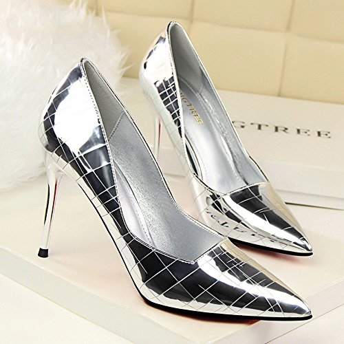 Shoes Single Female Shallow With Heeled Pointed Mouth heels Versatile Yukun High Autumn Silver Tide Shoes Single Golden High With qaFZHwZ