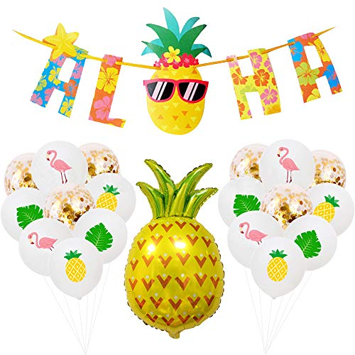 Echolife 10 Pcs Hawaiian Aloha Party Decorations Large Glittery Banner Pineapple Balloons for Luau Summer Birthday Theme Party Supplies -