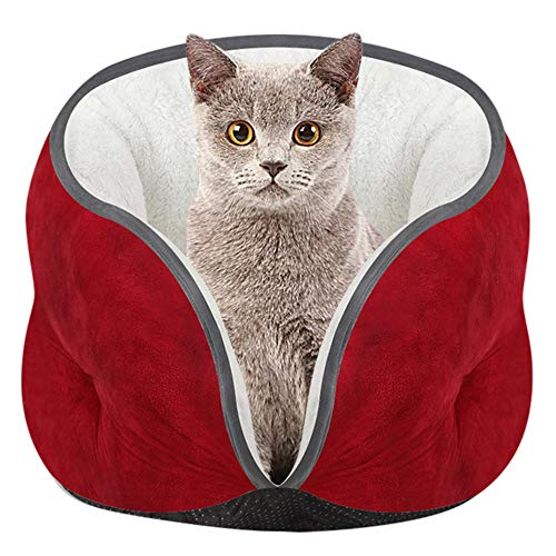 DZT1968  Pet Kitten Cat Bed Cushion Mat Super Soft Warm Kennel Dog Puppy House (Red)