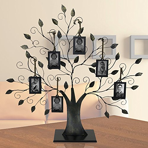 Family Tree with 6 Hanging Photo - Picture Frame Ornament Tree